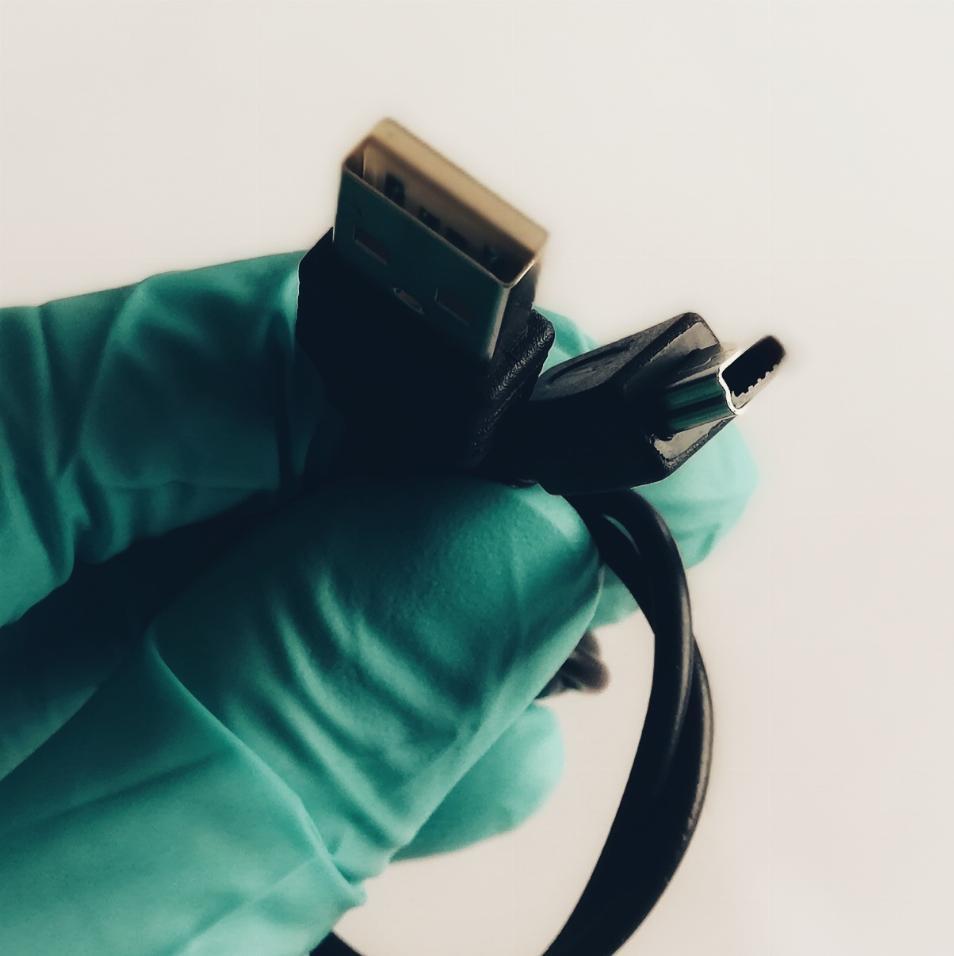 USB mini B cable close up